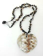 Abalone Heart Shell Beaded Pendant Necklace