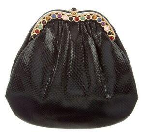Judith Leiber Karung SnakeSkin Black Day Evening Handbag Gems Gold Vintage
