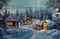 Ölgemälde auf Leinwand Landschaft Winterzeit Dorf signiert Aleksandr Grigorev