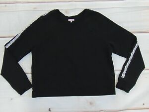 JUICY COUTURE Sport TOP Women's Size XL Black Pearls Rhinestones Pullover Shirt
