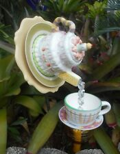 Whimsical Pouring Birthday Cake Tea Pot and Cup Bird Feeder