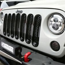 Fit 07-15 Jeep Wrangler JK Black Front Grille Cover Trim Clip Insert Mesh Grill