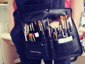 Makeup brush holder PU. Zipper travel cosmetic case w XL adjustable strap/ belt.