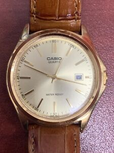 Men's Casio Gold Tone Watch With Brown Crocograin Leather And New Battery