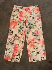 Per Una Roma Rise Floral Summer Wide Leg Trousers Size 18 Bnwt Free Sameday P&p