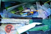 BIG * WOW * 5 lbs MASS PIECES OF COLORFUL FUSIBLE 90 COE BULLSEYE GLASS SCRAP