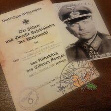 Panzer General Heinz Guderian - Certificate Knight's Cross of Iron Cross + Photo