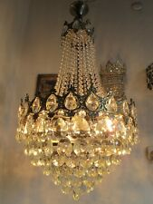 """Antique French Gigantic Bohemia Crystal Chandelier Ceiling Lamp 1940's 17"""" Dmtr."""