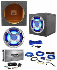 """NYC Acoustics NC12S4 1600w 12"""" LED Subwoofer+Sealed Sub Box+Boss Amplifier+Wires"""