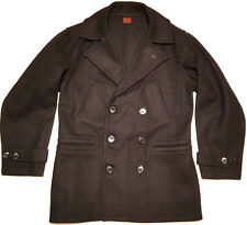 1940s Pea Coat BIG SMITH STORMWEAR 4 Pockets BLACK & RED TAG BELT NOS DEADSTOCK