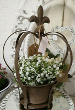 Patina Metal Crown with Lily Growth Support Flowerpot Shabby Vintage 11 13/16in