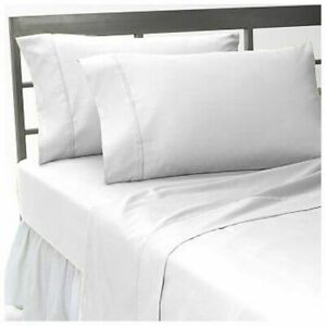 6 PC Sheet Set Egyptian Cotton 1000 Thread Count UK Super King White Solid