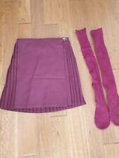 Girls Burgundy Sports Pleated Skirt& Socks School P E/Netball Width 26 Length 28