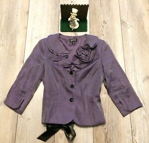 ADRIANNA PAPELL  Size 6 P, Purple Long Sleeve, Button Up Blazer Rayon... NICE