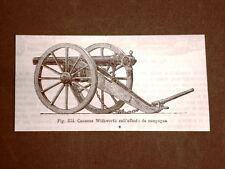 Incisione del 1875 Armi e Artiglieria Cannone Withworth sull'affusto da campagna