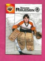 RARE 2003 WILD YOUNG DWAYNE ROLOSON  DURACELL GOALIE  CARD (INV# C3318)