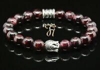 Granat rot Armband Bracelet Perlenarmband Buddhakopf silber 8mm