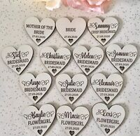 Personalised Laser Engraved Wedding Party White Wooden Heart Coat Hanger Tag