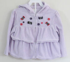 GYMBOREE Size 2T-3T Purple Velour Button Accents Long Sleeve Hoody Tops ~ Shirt