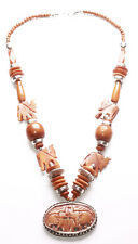 Carved Wooden Elephant Pendant /Wooden Chrome Beads Necklace(Cl14/Zx297)