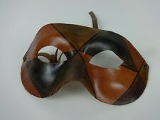 Leather Face Mask Handmade Harlequin Style Brown Green Red Adjustable One Size