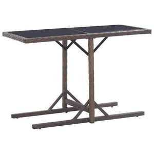 Glass and Poly Rattan Garden Table - Brown