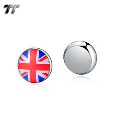 TT 10mm Stainless Steel UK Flag Magnet Earrings (BM07) NEW