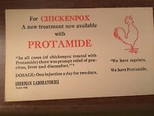 POST CARD FOR CHICKEN POX PROTAMIDE FROM SHERMAN LABS NO STATE MENTIONED