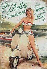 """Vespa Scooter, Italian Classic, """"Les Belles Vacances"""" Large Metal/Tin Sign"""