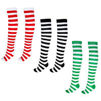 Women Colorful Stripe Over Knee High Christmas Socks Stockings Cosplay Costume