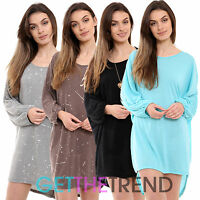 Womens Oversized Knitted Plain Splatter Style Dress Ladies Loose Baggy Top Tunic