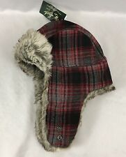 Woolrich Outdoor Hat Faux Fur Trapper Plaid Red Black Earflaps NWT Size XL