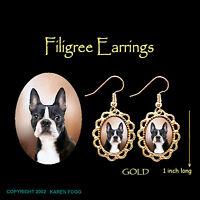 BOSTON TERRIER DOG - GOLD FILIGREE EARRINGS Jewelry