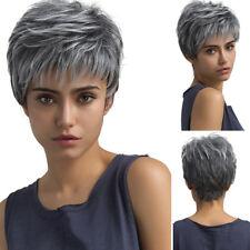 Natural Light Gray Straight Short Hair Wigs Short Women Lady Girl Fashion Wig GB