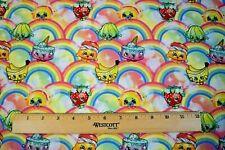 Shopkins Treats Rainbows 100% Cotton Fabric FQ 18 x 22