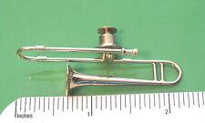 TROMBONE  miniature - hat pin , tie tac , lapel pin , hatpin (PGTB) GIFT BOXED