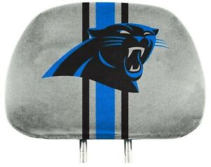 Carolina Panthers PRINTED COLOR Pair of Premium Auto Head Rest Covers Football