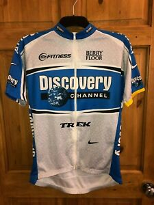 Cycling Jersey Nike Discovery Channel Blue/White with logos Full Zipper