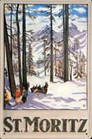 ST. MORITZ SWITZERLAND SKI WINTER OLYMPIC EMBOSSED METAL ADVERT SIGN 30x20cm