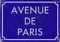 AVENUE DE PARIS - PLAQUE EN METAL - 15 x 21 CM - BAR & DECO - NEUF