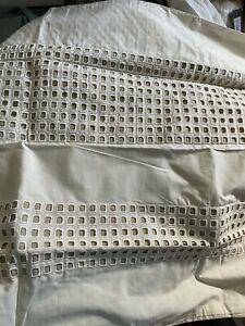 Hotel Collection Modern Eyelet King Shams 100% Cotton Percale New