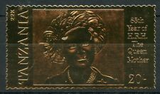 TANZANIA   85th BIRTH ANNIVERSARY OF THE QUEEN MOTHER III  22K GOLD FOIL STAMP