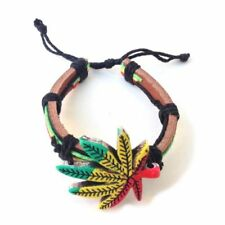 Weed Leaf Detail detail Rasta Leather Wrist Cuff  Bracelet....JAH LOVE