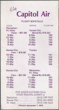 Capitol Air Lines system timetable 9/1/70 [8062]