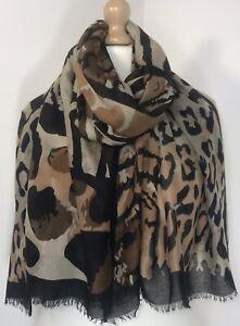 Leopard Print Pashmina Scarf Black Animal Print Oversized Soft Feel Long Animal