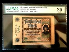 Rarest Historical 5000 German Marks 16/09/1922 - Uncirculated PMG Certified