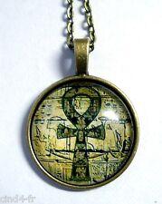 Médaillon Vintage +Chaine bronze/Medallion+Chain necklace Egyptian symbol/Egypte