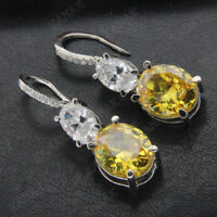 14k White Gold Finish Drop Dangle Earrings Oval Cut Citrine & Diamond 5.25 Ct