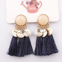 Fashion Women Bohemian Alloy Long Tassel Fringe Boho Dangle Earrings Jewelry New