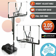 Portable Basketball Ring Stand System Polycarbonate Backboard Height Adjustment